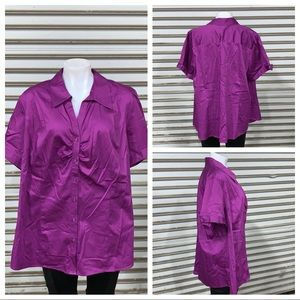 NWT Lane Bryant purple short sleeve button up top
